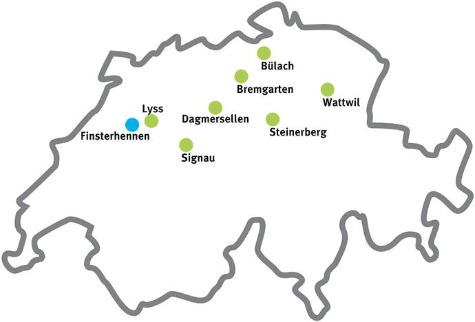 Karte Schweiz mit SWEM-Partnern